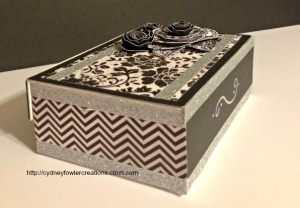 I put the Chevron paper on the sides of the box.