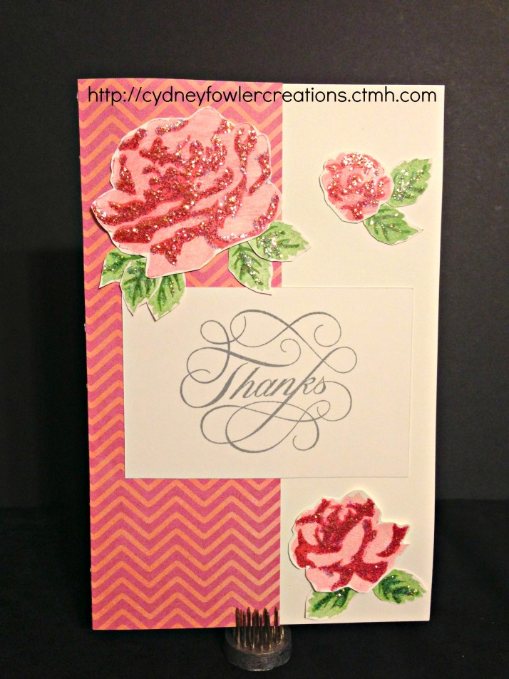 Thank You card using Claire paper - chevron pattern