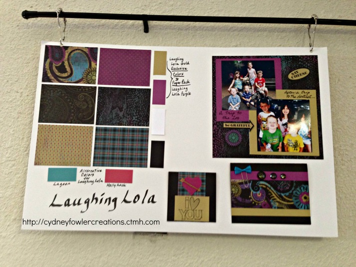 Display board featuring the Laughing Lola paper pack.
