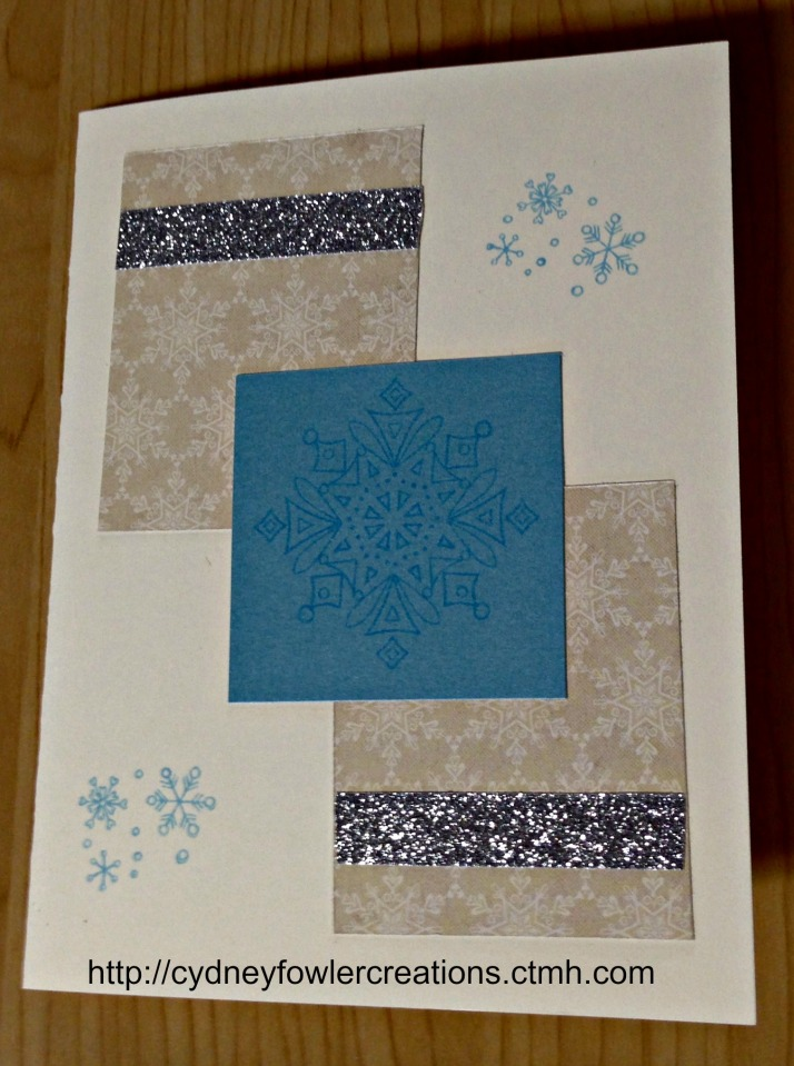 Same design - two rectangles and a square with snowflake stamping.  I added a little silver shimmer tape to give it some bling with the neutral colors.