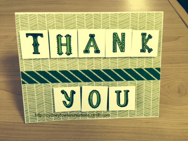 Green Thank You card with the Circus Alphabet and Topiary Washi Tape.